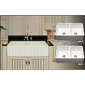 Oxford Double Bowl Apron Farmhouse Front/Undermount Reversible Quartz Kitchen Sink 33""