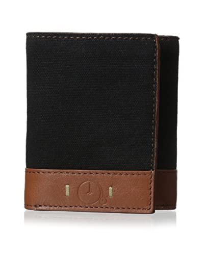 Maker & Company Men's Washed Canvas Trifold Wallet, Black
