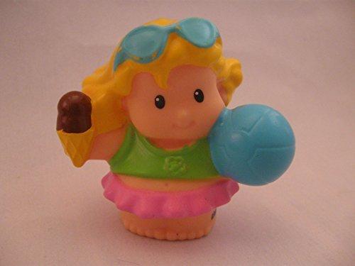 Fisher Price Little People Beach, Bath Tub, Pool, Summer Play Set Sarah Lynn, Tummy Out, Ice Cream Cone, Beach Ball OOP 2010 - 1