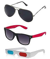 Hrinkar Aviator Black Lens Grey Frame, Wayfarer Grey Lens Black Frame & Paper 3D Glass - HCMB077