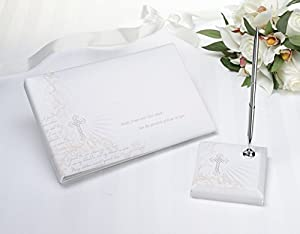 Lillian Rose 10-Inch White Christian Guest Book with 3.75-Inch Pen Set