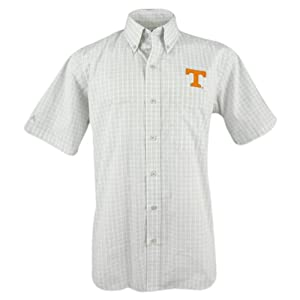 Tennessee Volunteers Mens Reflex Button-Down Grey Plaid Short Sleeve Shirt by Antigua