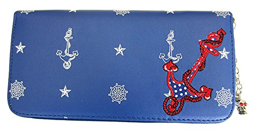 Vietato 50s ANCHOR nautico marinaio donna portafoglio blu Blue Standard