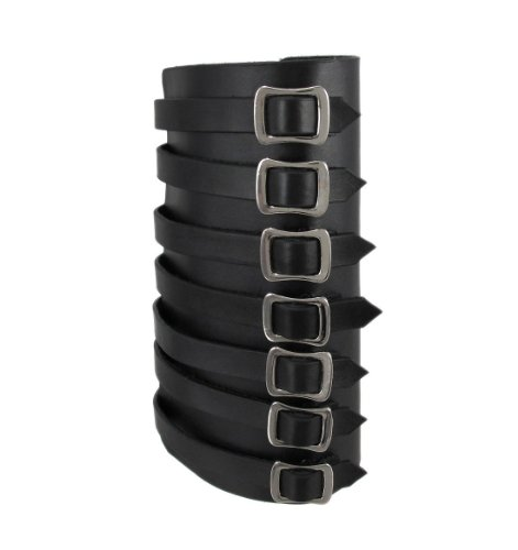 Black Fake Leather 7 Buckle Gauntlet Chrome Hardware Wristband