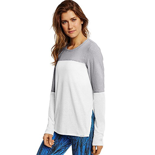 Champion Women's Loose Fit Tee_White/Oxford Grey_L
