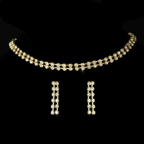 Gold Clear Crystal Double Strand Bridal Wedding Necklace Earring Set