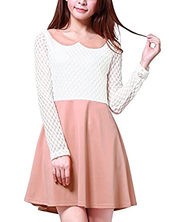 Women Peter Pan Black and White Formal Short Dresses Skater Dress