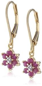 18k Yellow Gold Plated Sterling Silver Ruby Flower Dangle Earrings