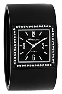 Marciano Women's | Large Black Square Face Fashion Bangle With Rhinestone Accented Bezel | HA0230