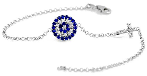 Evil Eye Cross Bracelet with High Grade Cz Stones
