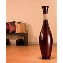 44 Inch Large Egret Floor Vase - Cocoa Brown