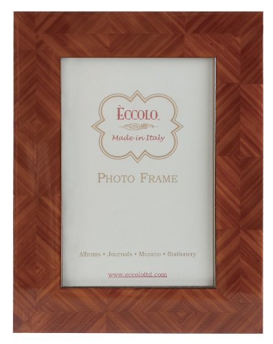 Eccolo Made in Italy Marquetry Wood Frame, Herringbone Parquet Tan, Holds a 5 x 7-Inch Photo