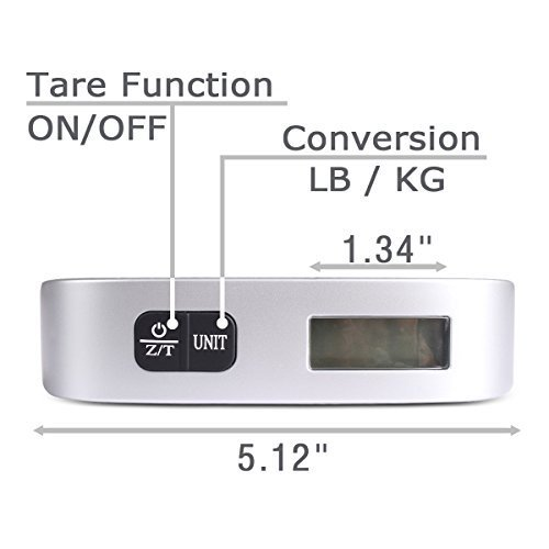 Camry 110 Lbs Luggage Scale with Temperature Sensor and Tare Function Without Backlight Gift For Traveler, Silver, One Size