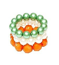 D'chica Tri Colour Love Beaded Bracelets For Girls Set Of 3