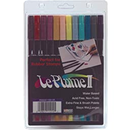 Uchida 1122-12C Le Plume II Double-Ended Markers with Brush and Fine Tips, Victorian, Set of 12