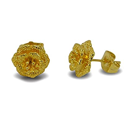24ct Gold Filled Flower Shape Stud Earrings Girls Womens 24K GF