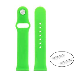 Apple Watch Band - 38mm Soft Silicone Rubber Watch Band Fitness + Adapters Replacement Straps Bracelet Wrist Band Watch Band for Apple Watch Sport Edition 2015 Release (Green 38mm silicone band)