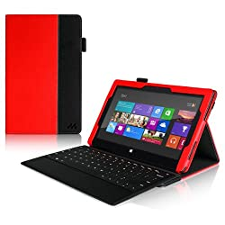 Manvex Leather Case for the Microsoft Surface PRO Tablet NOW COMPATIBLE with the SURFACE PRO 2 / ALSO WORKS with both Microsoft Keyboards!   Built-in Stand with Multiple Viewing Angles with Stylus Holder - Red/Black