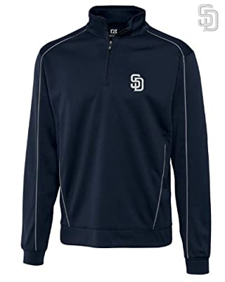 San Diego Padres Mens DryTec Edge Half Zip Jacket Navy Blue
