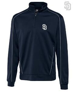 San Diego Padres Mens DryTec Edge Half Zip Jacket Navy Blue by Cutter & Buck