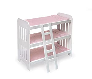 Badger Basket Triple Doll Bunk Bed with Ladder and Pink Gingham Mats (fits American Girl dolls)