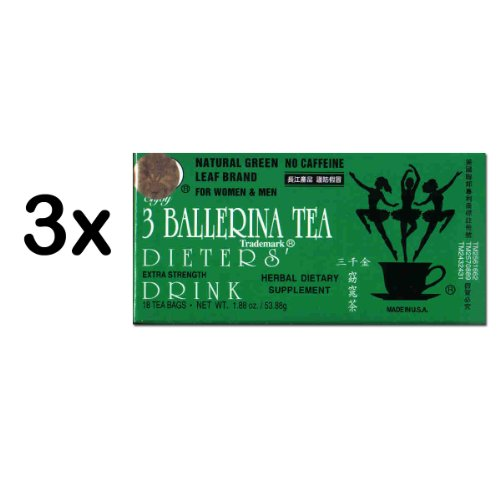 3 Ballerina Diet Tea Extra Strength For Men And Women (3 Boxes X 18 Bags)
