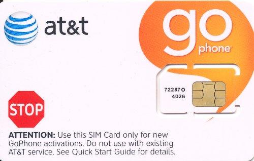 ATT プリペイドSIMカード 2G/3Gデータ アメリカ 米国 通常サイズSKU 72287
