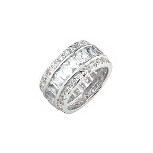 Studio 925 Celebration Diamond CZ Baguette Sterling Silver Eternity Ring, 5