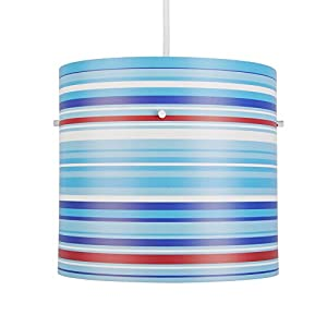 Modern Blue, White And Red Striped Cylinder Ceiling Pendant Light Shade