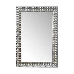 The Summer Deal. H&A Gorgeous Over Size Wood Frame Burnished Silver Wall-Mounted Mirror,35.5\'\'X24\'\'. Luxury for bathroom, living room, bed room. Hooks and Rope Included.ONLY SHIP TO CA, NV, OR, AZ