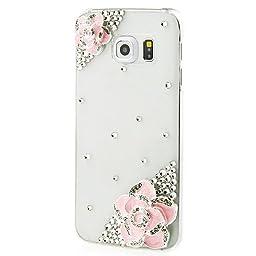 Samsung Galaxy S7 Edge Case, Sense-TE Luxurious Crystal 3D Handmade Sparkle Diamond Rhinestone Clear Cover with Retro Bowknot Anti Dust Plug - Camellia Flower / Pink