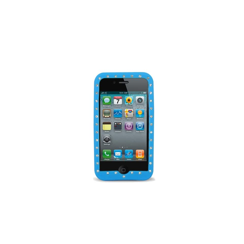 Sky Blue with Diamond Rhinestone Soft Silicone Skin Gel Cover Case for Apple Iphone 4 4g