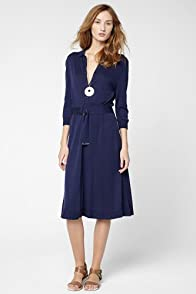 Sleeve Cotton Belted Polo Sweater Dress