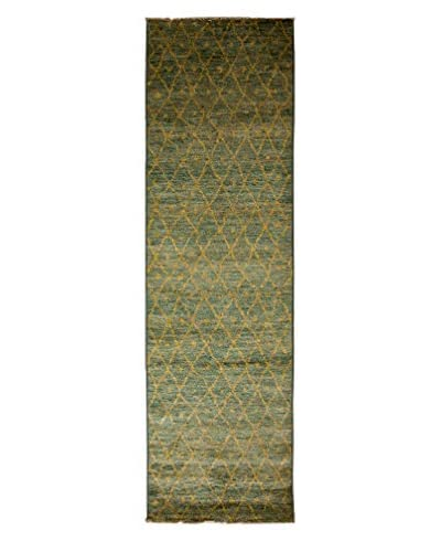 Darya Rugs Moroccan Hand-Knotted Rug, Light Blue, 2' 9 x 9' 9 Runner