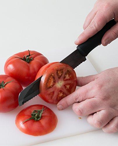 Best Serrated Knife | Tomato Knife | Razor Thin Slices | Mirror Finish | Serrated Ceramic Blade Never Needs Sharpening