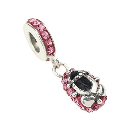 Beads Hunter-Fede in argento Sterling 925, con zirconia cubica, a forma di rosa in cristallo, motivo scarpetta di Ballerina con pendenti per bracciale europea