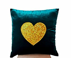 amazoncom teal heart pillow cover decorative throw
