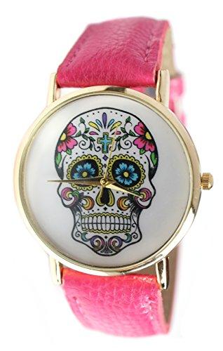 "Cerise Pink Sugar Skull Watch 6 1/2"" To 7 3/4"""