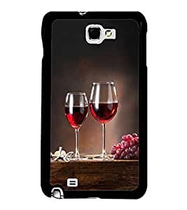 Fuson Premium 2D Back Case Cover Glass of wine With Blue Background Degined For Samsung Galaxy Note 2::Samsung Galaxy Note 2 N7100