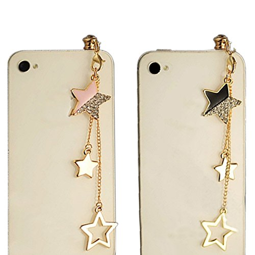 Mollycoocle 2X Black Pink Five-Star Chain Pendant Pattern 3.5Mm Cellphone Charm Anti Dust Plug Earphone Headphone Jack Accessory For Iphones, Ipods, Ipads, Ipad Air, Samsung Galaxy Series And Android Smart Phone And All Touch Screen Devices - Black, Pink