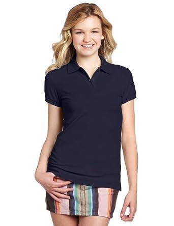 Dickies Girl Juniors Short Sleeve 2 Button Pique Polo,Navy,Small