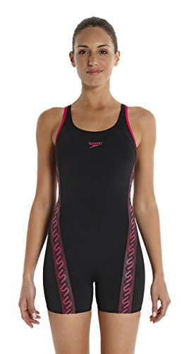 speedo-womens-monogram-legsuit-swimsuit-black-magenta-size-38