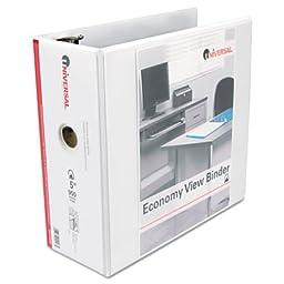 Universal® Economy D-Ring Vinyl View Binder, 5in Capacity, White