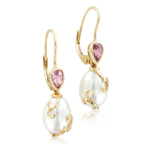 Natural Pink Tourmaline and Pearl Drop Earrings in 14k Rose Gold, Certificate of Authenticity