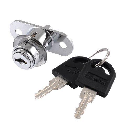 Water & Wood 19mm Dia Cylinder Head Silver Tone Metal Sliding Door Plunger Lock w Keys