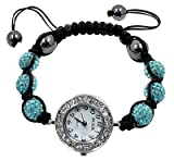 Shamballa Bling bling bracelet by BodyTrend - Aquamarine Iced Balls with Swarovski crystals and fashion Elegant Watch - fits lovely on any wrist - perfect for a gift - adjustable size fits 7
