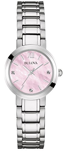 Bulova Women's Diamond Quartz Watch with Mother of Pearl Dial Analogue Display and Silver Stainless Steel Bracelet 96P165
