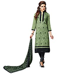 Surat Tex Green & Black Color Party Wear Embroidered Chanderi Cotton Un-Stitched Dress Material-G961DL720ZE