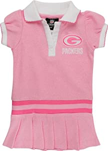 Green Bay Packers Infant Pink Rib Dropped Waist Polo Dress from NFL Brand