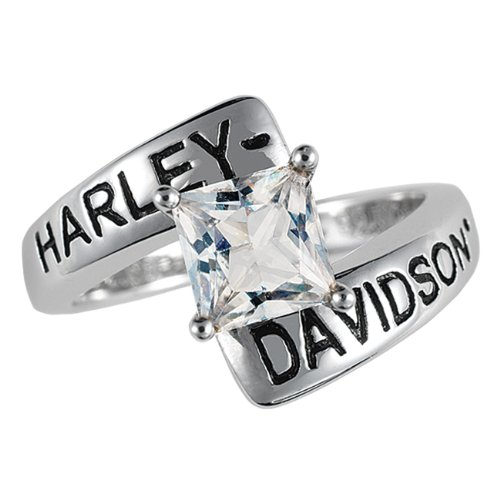 Sterling Silver Harley-Davidson Ladies Crossroads Birthstone Ring - April White Topaz